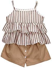 Ropa Bebé Niñas 2PC Raya Volantes Chaleco Camiseta+Pantalones Cortos Trajes Conjunto de Ropa para Bebés Niños 2-7 años Holatee