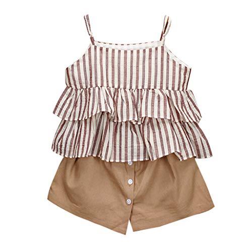 Mbby tuta bambina ragazze estate, 2-7 anni completo bambino ragazza 2 pezzi tute pantaloncini + maglietta con cinturino senza manica balze a righe set cotone (6-7anni, khaki)