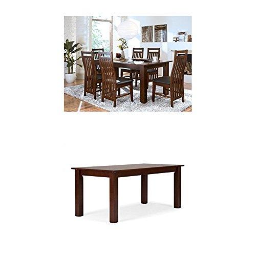 Massivum Suma Esstisch 150x90 mit Ansteckplatten + 4 Stühle, Holz, Kolonial, 90 x 150 x 75 cm + Esstisch Bologna 150x75x90 cm Rubberwood braun gebeizt und lackiert