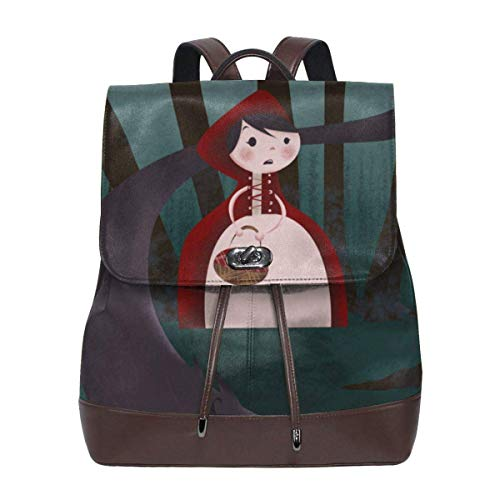 Flyup Little Red Riding Hood And Big Wolf Women's Leather Backpack,Unique Design With Elegant Appearance Damen Leder Rucksack Womens Red Riding Hood