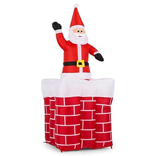Bakaji Camino Gonfiabile Con Babbo Natale Movimento Automatico Verticale Altezza Massima 180 cm Con Kit Fissaggio Per Esterno Illuminazione LED Protezione IP44 Addobbo e Decorazione Natalizia
