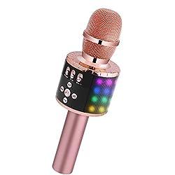 BONAOK Microphone Sans Fil, Microphone Karaoké Enfant Bluetooth Lecteur Enregistreur Portable, Lumières LED Coloré Microphone de Fête Familial pour Appareil Intelligent Android/iOS-Or rose