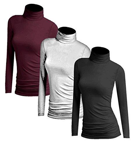 3x Damen Frauen Langarm Rollkragen - Rolli - Rollkragenshirt - Turtleneck T Shirt - 3er Pack - Basic TShirt Tops - 3 in 1 - Schwarz + Weiss + Wein (Damen Rollkragenpullover)