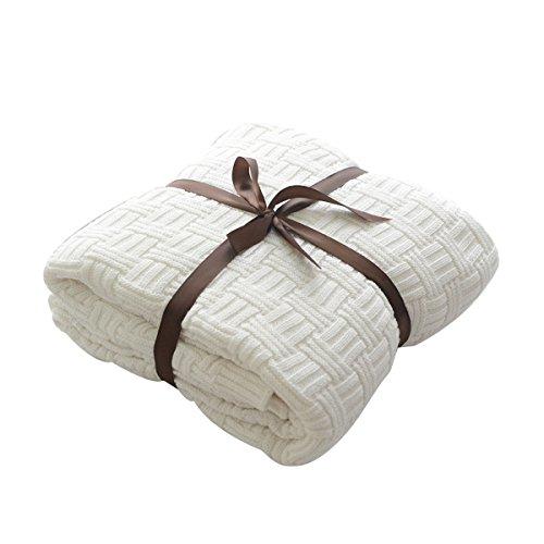 MYLUNE HOME 100% Coton Couverture Tricot mérinos élégante de Luxe pour Regarder la télévision ou la Selle sur Chaise, canapé et lit,Double Face Couvertures (180x200cm,White)