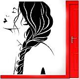 Wandtattoo Fenster Vinyl Aufkleber Beauty Salon Frau Gesicht Friseursalon Frisur Trend Modern Home Decor 42x60cm