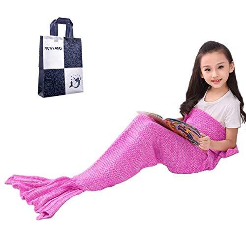 Meerjungfrau Flosse Decke - NEWYANG Decke Meerjungfrau, Meerjungfrau Decke Rosa,Meerjungfrau Decke Kinder,Geschenke Für Mädchen,Spielzeug Für Mädchen,Weihnachtsgeschenke Für Kinder (Kid Rosa Red)