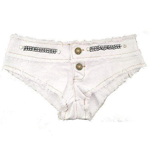 Outgobuy Damen Hot Sexy Women Low Waist Cut Off Lace Jean Denim Shorts Pants Weiß