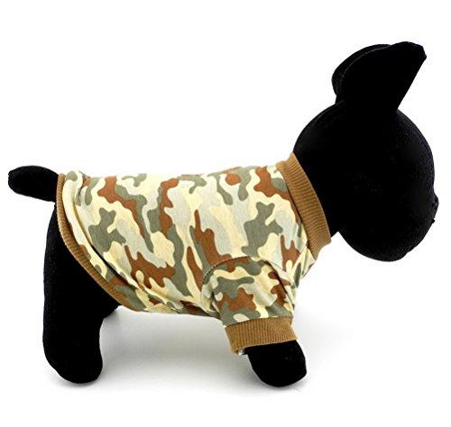 zunea Haustier Kleidung Apparel für kleine Hunde Katzen 100% Baumwolle Camo Camouflage Print-Shirt Braun
