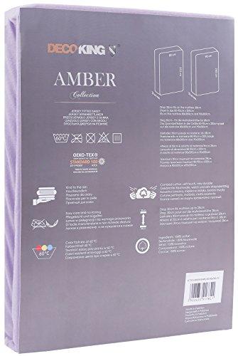 DecoKing 18170 80x200-90x200 cm Spannbettlaken violett 100% Baumwolle Jersey Boxspringbett Spannbetttuch Bettlaken Betttuch Violet Amber Collection - 3