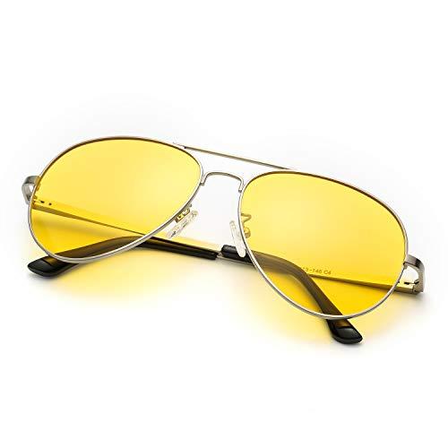 Nachtfahrbrille Gelbe Linse Anti-Glanz, HD Polarisiert Pilotenbrille Fahren Brillen, Nachtsichtbrille Autofahren 100{3bb879547ec1bd5b61035e3eab474fc4093cfb8af42c9fb6ccc96f79ef0bcab6} UVA/UVB Schutz (Silber Rahmen Gelbe Linse)