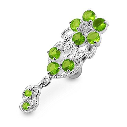 Pierre en cristal fleurs tendance Design en argent 925 avec acier inox Belly Light Green