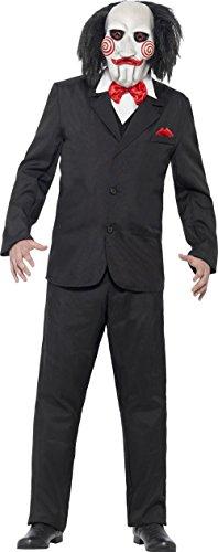Imagen de saw jigsaw kostüm con máscara con licencia disfraz negro blanco rojo, hombre, multicolor, medium