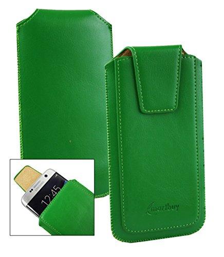 Emartbuy® Sleek Bereich Grün PU Leder Slide in Hülle Tasche Sleeve Halter (Größe LM2) Mit Zuglasche Mechanismus Geeignet Für Slok C2 Dual SIM Smartphone