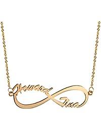 ca0e7e7231b1 Aroncent Collar de 925 Plata Esterlina con Colgante de Infinito Joyería  Personalizada con Grabado de Nombre Regalo de Memoria para…
