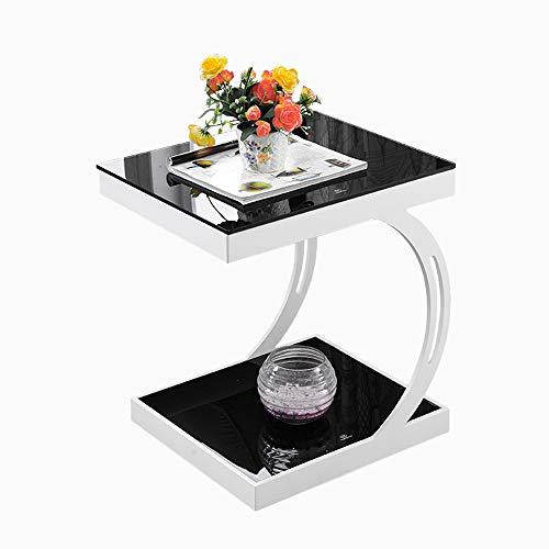 MGMDIAN Kleiner Tisch Wohnzimmer Kleiner Couchtisch Ecksofa mehrere Telefone mehrere kleine Beistelltisch Kleiner multifunktionaler Klapptisch (Farbe : White+Black)