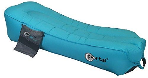 Portail extérieur Unisexe Gonflable Camping Chaise Longue en Jersey, Bleu, 190 x 70 x 30 cm