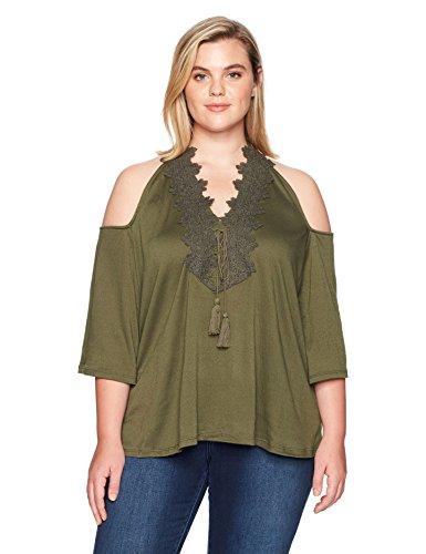 Love Scarlett Damen Pullover 3/4 Sleeve Topcold Shoulder Crochet Trim Neck Hemd, Military Green, 1X - Crochet Trim Blouse