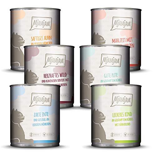MjAMjAM - Premium Nassfutter für Katzen - Mixpaket III - Wild & Kaninchen, Pute, Ente & Geflügel, Herzen, Huhn, Rind, 6er Pack (6 x 800 g), getreidefrei mit extra viel Fleisch