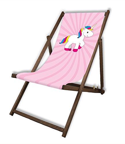 MultiBrands Liegestuhl, Holz, ohne Armlehne, mit dunkler Lasur, klappbar, Einhorn rosa