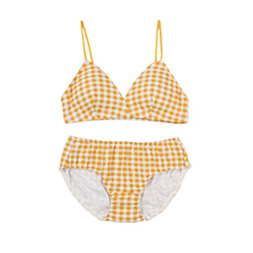 Yanwenkang Sommer Baumwolle Unterwäsche Gitter Dreieck Tasse kein Stahlring Mädchen versammelten BH-Set
