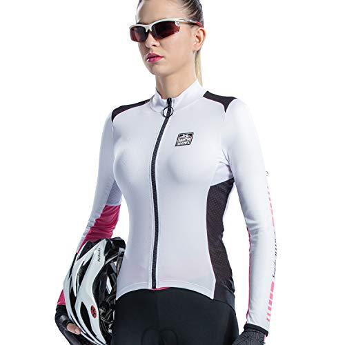 Santic Fahrradtrikot Damen Langarm Radtrikot Damen Fahrradshirt/Radshirt/Bikeshirt MTB mit Taschen Weiß EU L