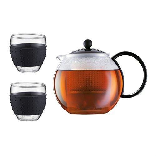 Set de thé Assam Presse, 1.0 l, 34 oz et 2 pièces en verre, 0,35 l, 12 oz,