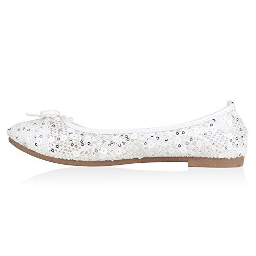 Damen Ballerinas Slipper Loafers mit Spitze Frühling in mehreren Farben 36 -41 Weiss Pailletten