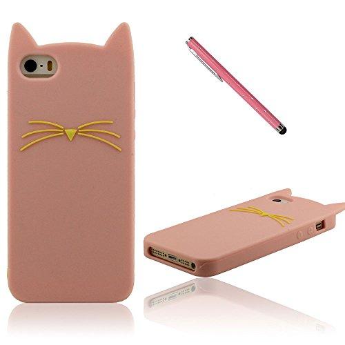 iPhone 5S Case, Filles Style, Dessin animé Style 3D Renard Modélisation Silicone Coque Étui de protection pour iPhone 5 5S 5C 5G, Coloré Soft & élastique Prime Silicone Cover Case + 1 Stylet Rose
