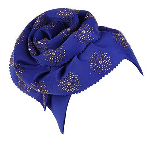 Zegeey Damen Muslimische Kopftuch Islamischen Turban Hut Einfarbiges Kopftuch BöRdeln Mit Gold-Stockbohrer(Blau,Einheitsgröße)