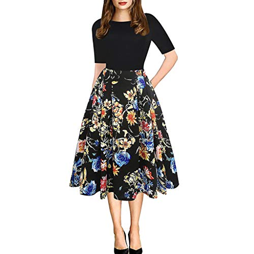 Hurrybuy Damen Kleid Casual Elegant A-Linie Floral Vintage Print Abend Party Vestidos Kleid, Gelb (gelb), Medium