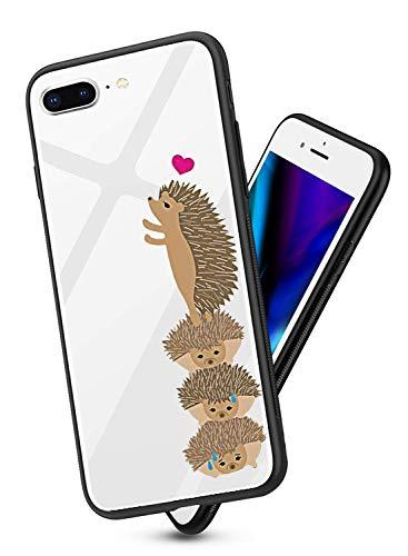 Alsoar ersatz für iPhone 7 Plus Hülle Transparent Handyhülle Durchsichtig Antikratz Schutzhülle,Gehärtetem Glas Rückseite mit Soft Silikon Rahmen Tier Süß Shell für iPhone 8 Plus (Igel) -