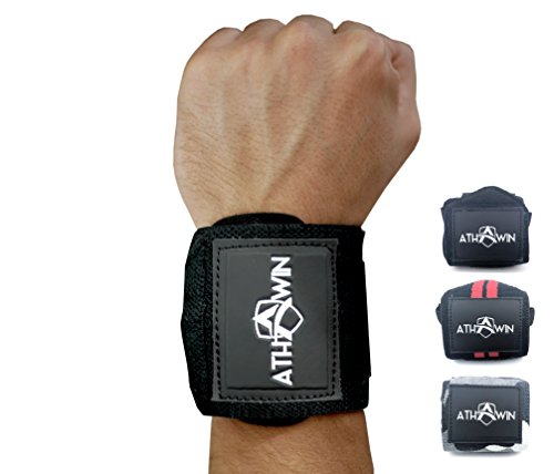 Handgelenk Bandagen | ATHWIN Wrist Wraps | Handgelenkstütze ohne Daumenschlaufe für Männer und Frauen | Ideal für Bodybuilding, Gewichtheben, Calisthenics, Freeletics & Crossfit | Black