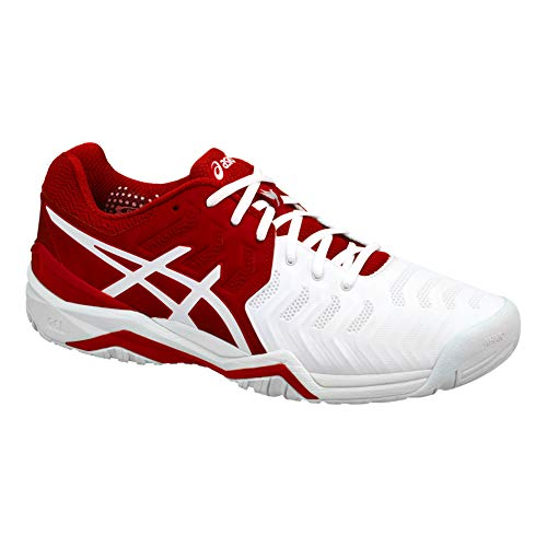 Asics Uomini Gel-Resolution Novak Clay Scarpe da Tennis Scarpa per Terra Rossa Rosso - Bianco 39