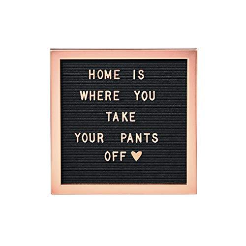Butlers Message Board Stecktafel 30x30 in Schwarz-Weiß - Retro Letter Board mit Buchstaben als Wohnaccessoire - Deko