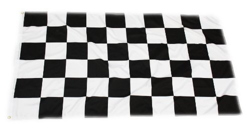 HCL Handycop® Flagge Fahne Rennflagge Zielflagge Schwarz weiße Karos Schachbrettmuster 90 x 150 cm - wetterfeste Qualität