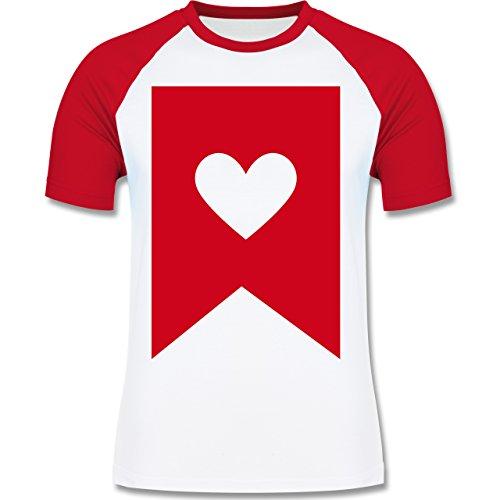 Symbole - Herz - zweifarbiges Baseballshirt für Männer Weiß/Rot