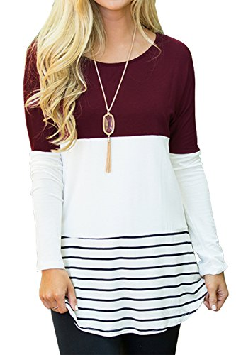 Inset Frauen Oben (Sherosa Damen casual color block spitze inset langarm-t-shirt tunika tops)