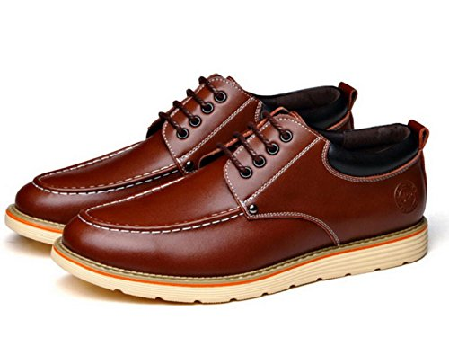 GRRONG Herren Leder Schuhe Freizeit Mode Komfortable Schwarz Braun Gelb Brown