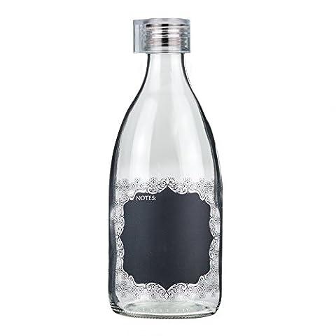 Grip & Go 1.0L Transparent Blackboard Plaque Glas Kühlschrank Flasche - Stopper aus Silikon, Transparenter (Tappi Di Plastica Almond)