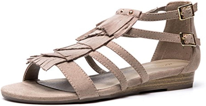QIDI-sandalias Plástico Temporada De Verano Mujer De Moda Negro Marrón Gris Fondo Plano Zapatos (Color : Gris,...