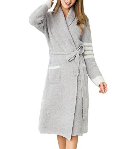 SZXC Frauen-Dressing-Kleid-PlüSch-Damen-Robe-Super Weiche Noten-BademäNtel Herbst Und Winter- Vollkommenes Geschenk FüR Sie , gray , (Hell Kostüm Girl Kimono)