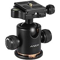 Andoer Testa a Sfera per Treppiede Monopiede Fotocamera e Videocamera con Piastra a Sgancio Rapidio Max Carico 8KG