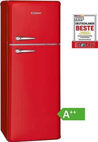 Bomann DTR 353 Doppeltür-Kühlschrank Retro-Style, EEK A++,208 L, Kühlen 157 L, Gefrieren 51 L, Höhe 143,5 cm, 172 kWh