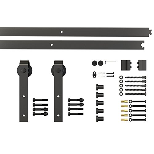 Homcom binario per porta scorrevole kit accessori con binario e rulli portata 100kg acciaio al carbonio 200 × 4 × 0.6cm