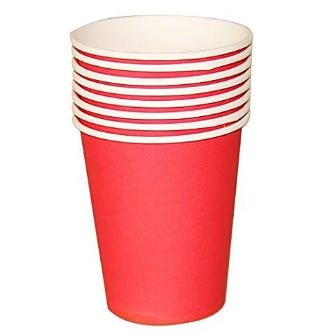 Tankerstreet jetables Rouge papier Tasses pour boissons chaudes froid, gobelets en papier Fête les pique-niques 255,1gram Lot de 8(Rouge)