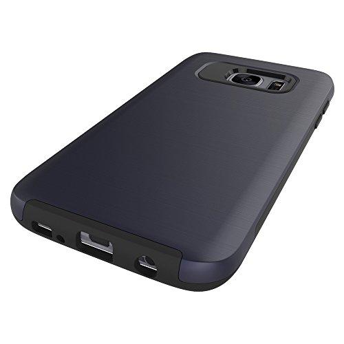 Für Samsung Galaxy S7 Edge Case, gebürstet Metallic Finish Back Cover Dual Layer 2 In 1 Hybrid Hard PC Soft TPU Stoßdämpfer Stoßfeste Gehäuseabdeckung ( Color : Rose Gold ) Blue