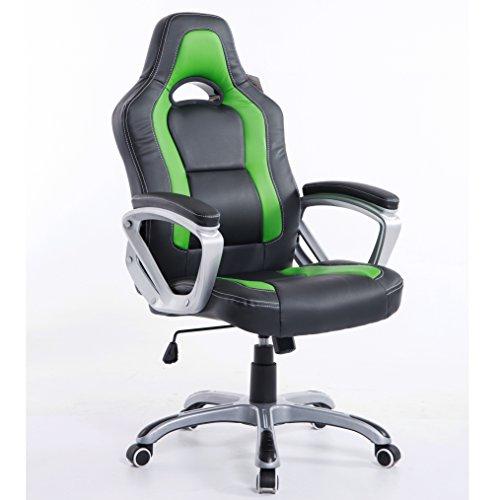 Cherry Tree Furniture Brand New Designed Racing Sport Swivel Office Chair Computer Desk Chair (Black & Green)