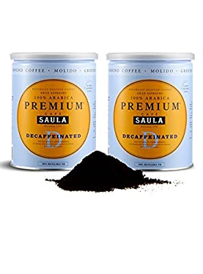 Premium Decaffeinated Ground Coffee – Café Saula's Award Winning 100% Arabica Spanish Espresso Blend 500g (2x 250g) from Café Saula