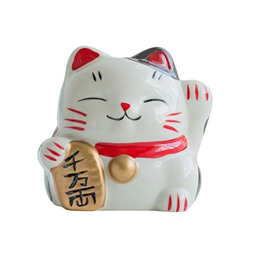 VORCOOL Gato cerámica Hucha Mini Cartoon Mignon Animal Hucha Caja de almacenaje Pintura colorée la decoración Interior