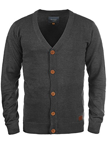 Blend Lennard Herren Strickjacke Cardigan Feinstrick Mit V-Ausschnitt und Knopfleiste, Größe:XL, Farbe:Charcoal (70818)
